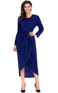 BY61818-5 Navy Tulip Faux Wrap Sash Tie Jersey Dress